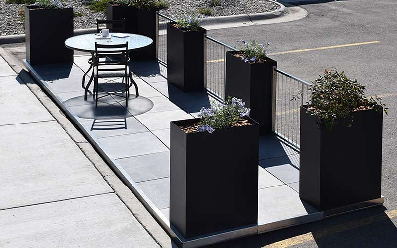 StreetDeck modular deck with table and planters