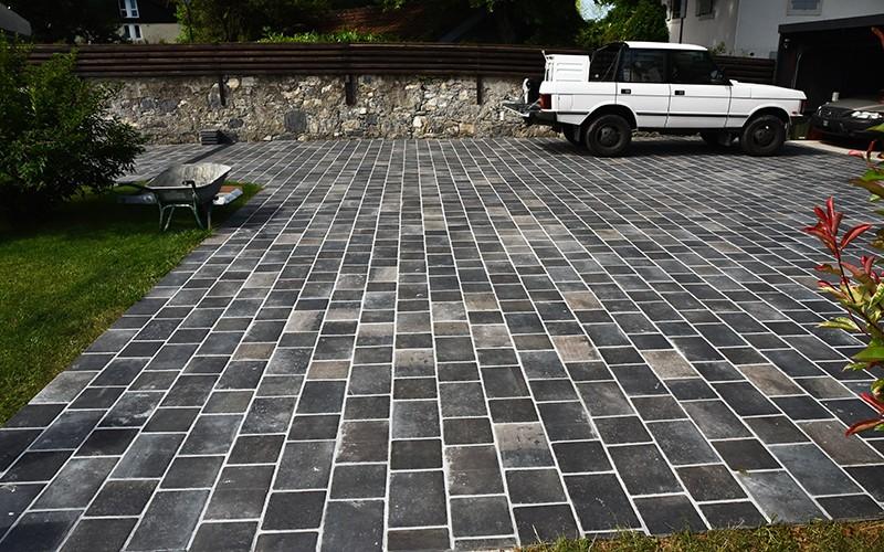 DIY cobblestone driveway